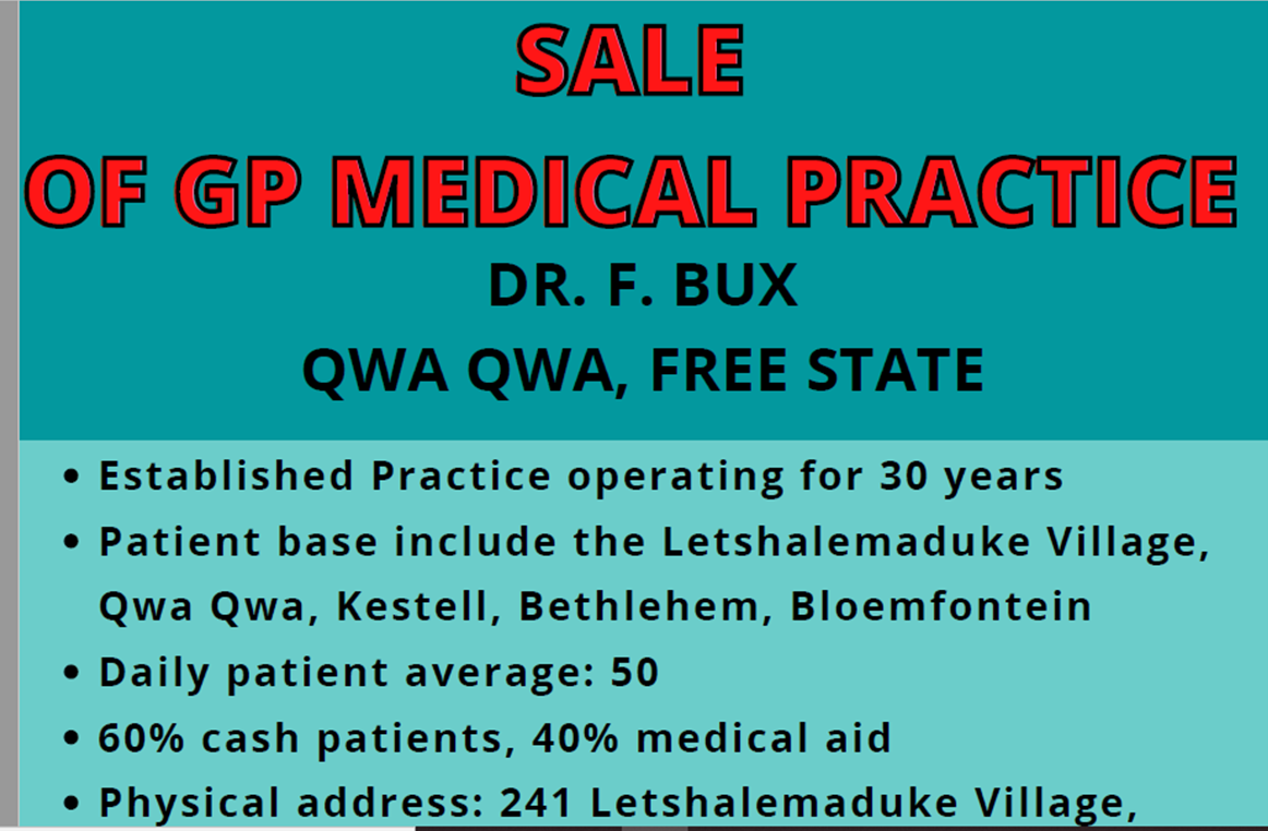 GP Medical Practice For Rent or Sale in Qwaqwa