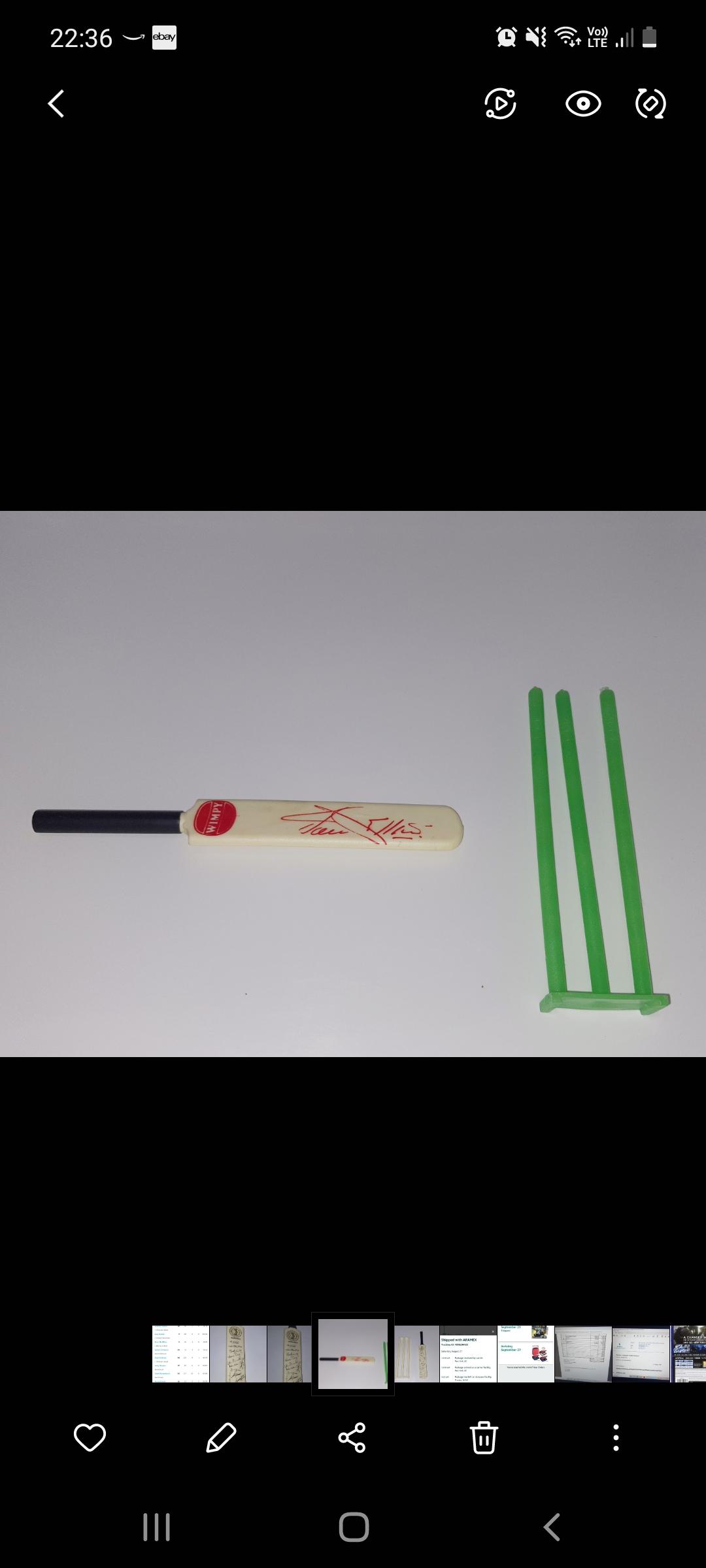 Jacques Kallis   Wimpy Collectible Bat and Stumps